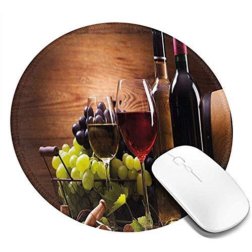 Ronde muismat, glazen rode en witte wijn geserveerd met druiven Franse gastronomische smaak, anti-slip Gaming Mouse Mat