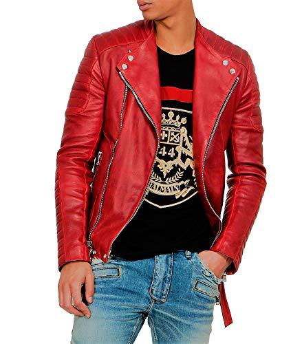 Aaron Craft Red Men's Lambskin Leather Biker Jacket XX-Large