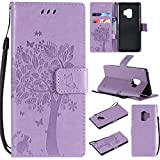 NOMO Galaxy S9 Case,Samsung S9 Wallet Case,Galaxy S9 Flip Case PU Leather Emboss Tree Cat Flowers Folio Magnetic Kickstand Cover with Card Slots for Samsung Galaxy S9 Light Purple