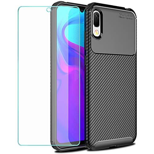 Wanxideng - Funda para Huawei Y6 2019 / Y6s + Protectore de Pantalla in Cristal Templado, [Textura de Fibra de Carbono] Carcasa de Armadura Resistente Funda de Silicona Suave y Delgada - Negro