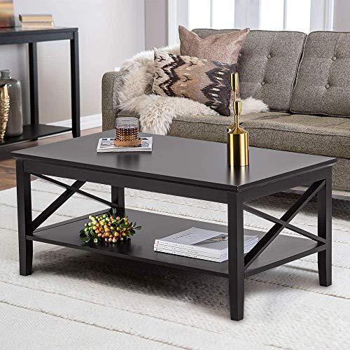 Blackpoolal Wood Beistelltisch für Wohnzimmer, Couchtisch mit Ablagefach, moderner X-Design-Konsolentisch für Laptop 100x60x47cm (Schwarz)