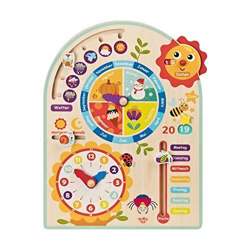 Tooky Toy Kalenderuhr Jahresuhr - Kinder Spielzeug - Holz Spielzeug Lern-Spielzeug - Uhr - Jahreszeiten - Wetter aus Holz