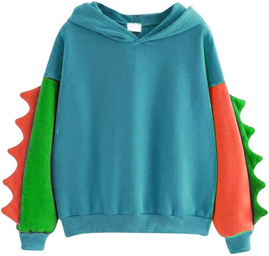 Toeava Womens Cute Hoodies Teens Girls Fuzzy Fleece Sweatshirt Long Sleeve Kawaii Dinosaur Sweatshirt Tops