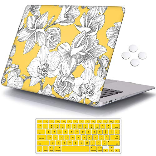 iCasso MacBook Air 13 Inch Case Durable Rubber Coated Plastic Cover for MacBook Air 13 Inch Model A1369/A1466 with Keyboard Cover (Peony on Yellow Base)