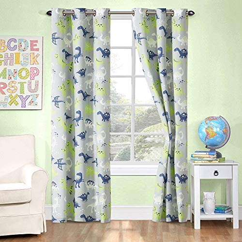 Kids zone Home Linen 2 Panel Curtain Set with Grommet for Boys Girls Teens Bedroom Multicolor Set Dinosaurs Grey Lime Green Navy Blue White New