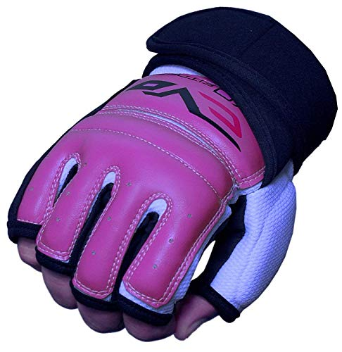 EVO - Damen Handschuhe aus REX Leder/Gel für MMA, Boxen, Sandsack, Kampfsport, Karate - L