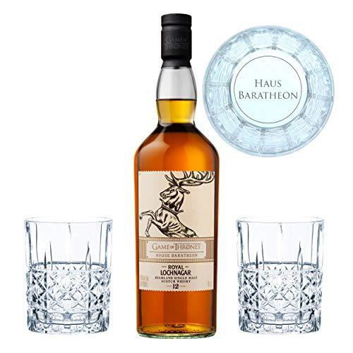 Game of Thrones Haus Baratheon Set, Royal Lochnagar 12yo Whisky + 2 gravierte Whiskygläser, Schnaps, Alkohol, 40%, 700 ml