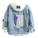 Attack On Titan Chaqueta Vaquera con Capucha Anime Shingeki No Kyojin Survey Corps Wings of Freedom Sudaderas con Botones para Adultos Cosplay Jeans Coat