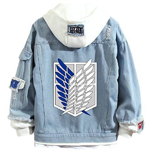 Wangyy Attack On Titan Jacke Jeans Hoodie Anime Shingeki Kein Kyojin Scout Regiment Flügel der Freiheit Cosplay Sweatshirts Männer Frauen Mode Casual Jeans Jacke