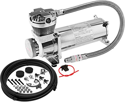 """Vixen Air 200 PSI Heavy Duty Suspension/Air Ride/Bag/Train Horn Air Compressor/Pump with 3/8"""" Stainless Steel Braided Hose, 3/8"""" NPT Check Valve and Remote Mount Air Filter Kit 12V Chrome VXC480C"""