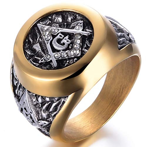 Jude Jewelers Stainless Steel Silver Gold Two Tone Masonic Freemason Signet Ring (Silver Gold, 14)