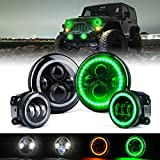 Xprite 7 Inch 90W CREE LED Headlights & 4 Inch 60W Fog Lights Combo w/ Green Halo for 2007-2018 Jeep Wrangler JK