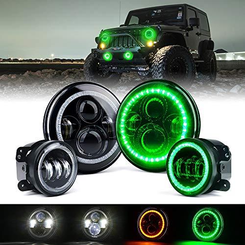 Xprite 7' 90W CREE LED Headlights & 4 Inch 60W Fog Lights Combo w/ Green Halo Angel Eye for 2007-2018 Jeep Wrangler JK