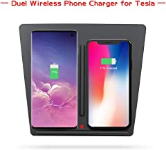 [Newest] Tesla Model 3 P50 P65 P80 P80D Car Accessories Center Console Wireless Charging Pad Panel on Board Phone Charger with Dual USB Ports Du Phone Charger with Dual USB Ports Dual Phones Charging