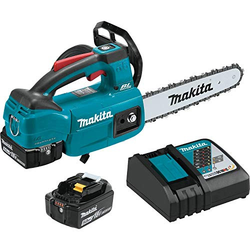 """Makita XCU06T 18V LXT Lithium-Ion Brushless Cordless (5.0Ah) 10"""" Top Handle Chain Saw Kit, Teal"""