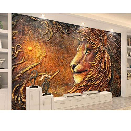 Bomdow Weinlese-Tapete, Geprägte Goldene Löwe-Tapeten-Fresken Für Wohnzimmerschlafzimmersofa Fernsehrückwand-280X200Cm