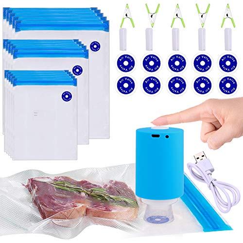 Sous Vide Bags, 42 PCS Electric Vacuum Sealer & Reusable Vacuum Food Storage Bags for Anova, Joule Cookers -30 PCS Reusable Vacuum Sealer Bags,5 Clips & 5 Sealing Clips,Rechargeable Vacuum Sealer Set