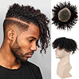 Rossy&Nancy 2021 New Toupee for Man Europen Human Hair Replacement Systems Men Hairpiece Mono Lace with PU Around Curly Wig (Natural Black Color, 9'x7')
