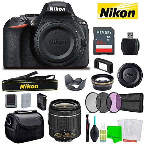 Nikon D5600 24.2MP DSLR Camera with AF-P DX 18-55mm Lens Kit Essential Camera Bundle Includes 64GB Memory Card + Camera Bag + Telephoto Lens + Creative Filters + Cleaning Kit + More