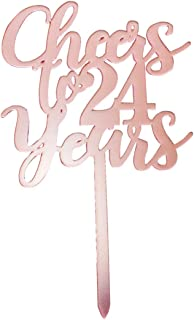 Cheers to 24 years cake topper, rose gold Happy 24th Birthday Cake Topper, Birthday Party Decorations, Supplies