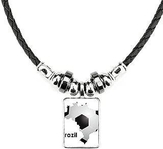 DIYthinker Soccer Brazil Map Shape Brazil Slogan Necklace Handmade Leather Rope Pendant