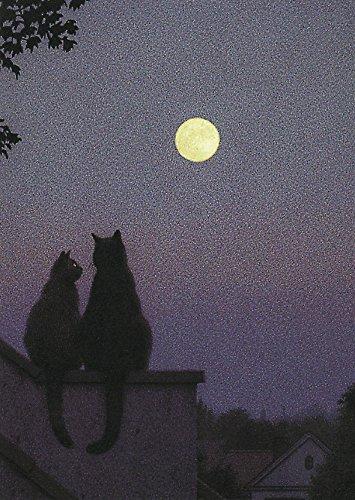 Postkarte A6 • 2843 ''Vollmond'' von Inkognito • Künstler: Quint Buchholz • Liebe & Romantik • Katzen