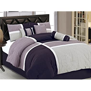 Chezmoi Collection 7-Piece Quilted Patchwork Comforter Set, Lavender Purple, Full