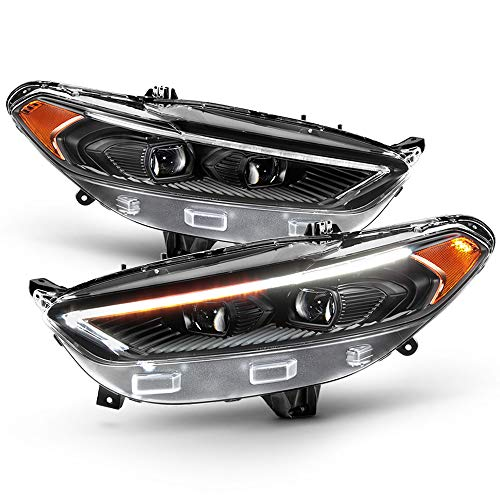 ACANII - For 2013-2016 Ford Fusion LED DRL Switchback Signal Black Projector Headlights Headlamps Driver & Passenger