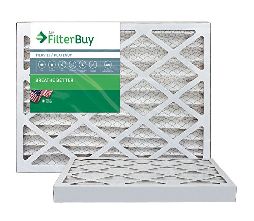 FilterBuy 16x20x2 Air Filter MERV 13, Pleated HVAC AC Furnace Filters (2-Pack, Platinum)
