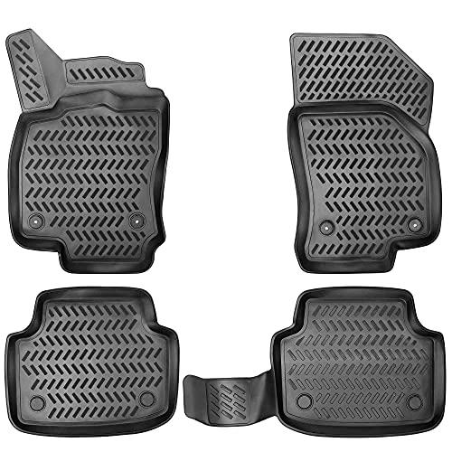 Elmasline Design 3D Gummimatten Set für VW Golf 6 Baujahr 2008-2014 | Extra hoher 5cm Rand