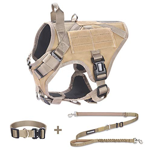 WINSEE Tactical Dog Harness with 2X Metal Buckles and Adjustable Dog Bungee Leash and Heavy Duty Dog Collar Bundle, Easy Control Training Rope and Vest with Sturdy Handle for Walking Hiking Hunting