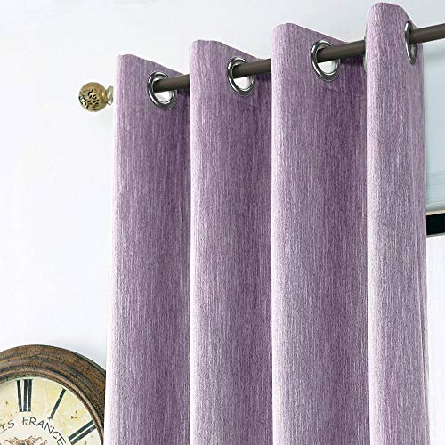 Melodieux Texture Blackout Thermal Insulated Grommet Top Curtains/Drapes for Bedroom, 52 by 96 Inch, Purple (1 Panel)