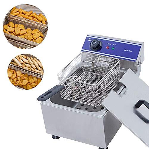 SISHUINIANHUA 10L automatische elektrische Friteuse Gewerbe Mini Fried Maschine Thermostatsteuerung Bratpfanne Bratpfanne für Französisch Fries Huhn,UK