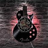 Disque Vinyle Horloge Murale 12 Pouces Mode Silencieux ModèLe De Guitare Horloge à Quartz pour Salon Chambre Salon Bar 30Cm (LED)