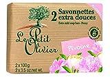 Le Petit Olivier - Savons - 2 Savonnettes extra douces Pivoine, Pfingstrose 2 Seifen zu je 100 gr.