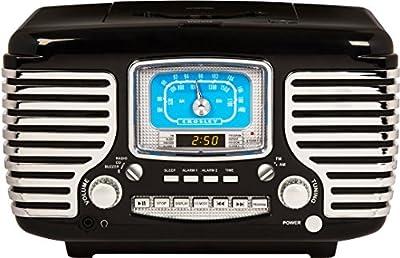 Crosley Corsair Retro AM/FM Dual Alarm Clock Radio with CD Player and Bluetooth