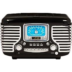 Crosley CR612D-BK Corsair Retro Am/FM Dual Alarm Clock Radio with CD Player and Bluetooth, Black