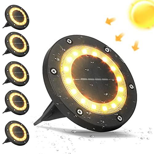 VANPEIN 6stk 16 LEDs Solar Gartenleuchten Bodenleuchten Aussen IP65 Wasserdicht Solarlampen Solarbodenleuchten für Außen, Warmweiß Bodenstrahler Beleuchtung Garten, Terrasse, Rasen, Innenhof