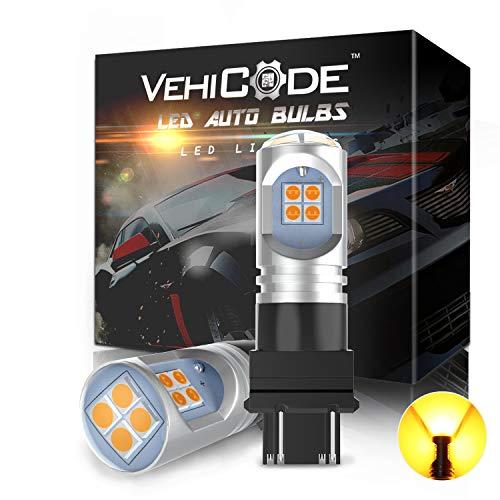 VehiCode 3157 LED Bulb Amber 3156 LED Turn Signal Light Super Bright Conversion Kit 12V-24V 3057 3157NA 4114 4157NA Dual Function 3457 Yellow Car Blinker Lamp (2 Pack)