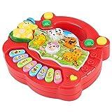 Deror Juguete Musical de Piano de Granja de Animales, Juguete de Piano Educativo Musical para bebés, Juguetes de música de Desarrollo de Granja de Animales, Regalos para niños(Rojo)
