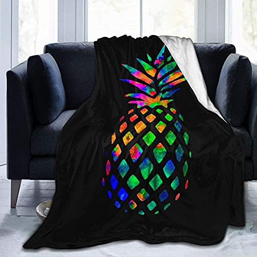 Pineapple Blanket,Colorful Tie Dye Pineapple Print Flannel Fleece Blanket,Super Soft Cozy Warm Fuzzy Throws Blanket for Bed,Couch,Chair,Car,Camping,50 X 40 Inch,All Season - Black