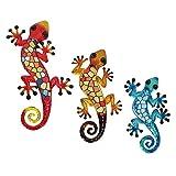 HONGLAND Gecko Wandkunst, Metall, Wanddekoration, Eidechse, hängende Skulptur, Dekoration für Haus, Garten, Zaun, 3 Stück