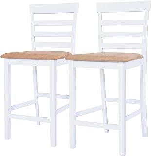 vidaXL 2X Bois Chaise de Bar Tabouret Bistrot Salon Cuisine Salle à Manger