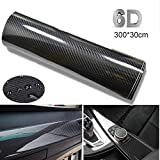 BangShou 6D Pellicola vinilica Adesiva in Fibra di Carbonio per l'Auto, per Interni/Esterni Impermeabile, Anti Bolle, Luminoso (Nero 300 * 30cm)