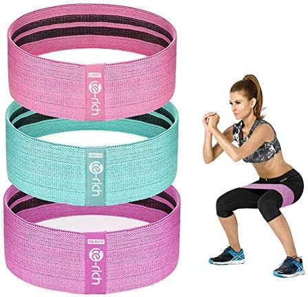 Te Rich Resistance Bands for Legs and Butt Fabric Workout Loop Bands Set of 3 Pink Green Purple product image