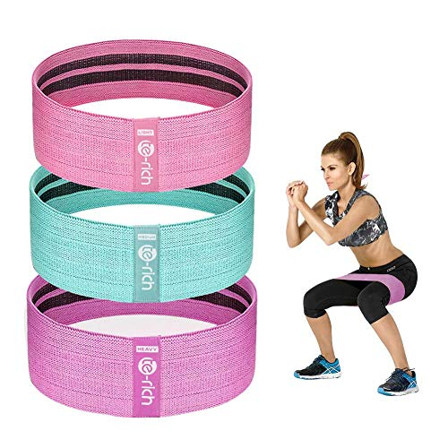 Te-Rich Resistance Bands for Legs and Butt, Fabric Workout Loop Bands, Set of 3 (Pink/Green/Purple)