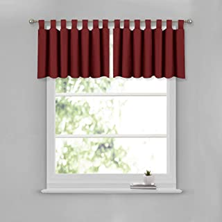 NICETOWN Short Window Treatment Curtain Valance - Elegant 52 inches by 18 inches Blackout Tiers for Living Room & Dining Room (Burgundy, 2 Panels Per Pack)