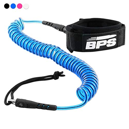 BPS 'Storm' Ultralite Surf SUP Coiled Leg Rope - 10 Foot Ankle Leash with Double Stainless Steel Swivels and Hidden Key Pocket - Surfboard Longboard Paddleboard Leash (Transparent Blue)