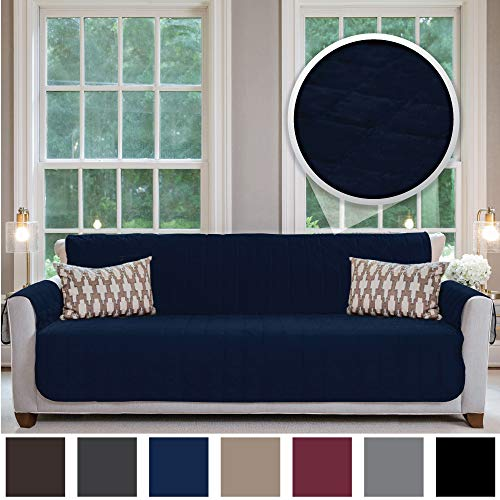 Gorilla Grip Original Velvet Slip Resistant X-Large Oversized Sofa Protector for Seat Width up to 78 Inch, Furniture Slipcover, 2 Inch Straps, Couch Slip Cover Throw for Pet Dog, Cats, Sofa, Navy Blue