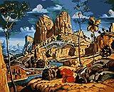 wcyljrb Kit de Pintura Digital de Bricolaje Tierras de Cultivo Creek Adult Digital Painting Suite Niños Artista Decoración del hogar 16 x 20 Pulgadas (sin Marco)